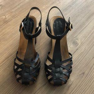 Top Shop Wooden Heeled Sandals.